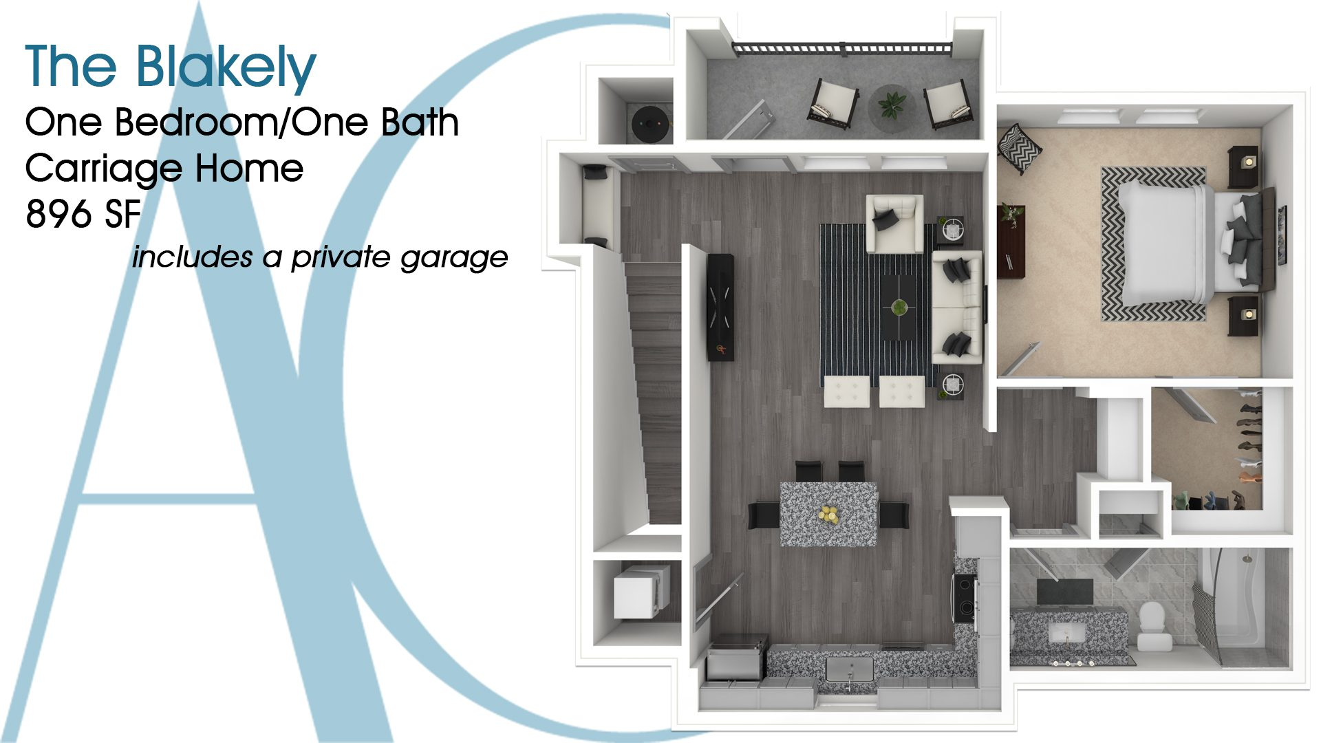 The Blakely—One-Bedroom/One-Bath Carriage Home—896 SQ. FT.