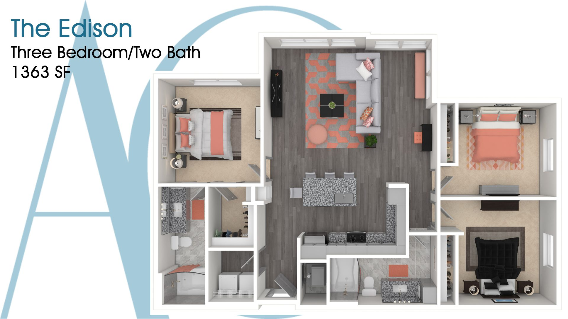 The Edison—Three-Bedroom/Two-Bath Apartment—1363 SQ. FT.