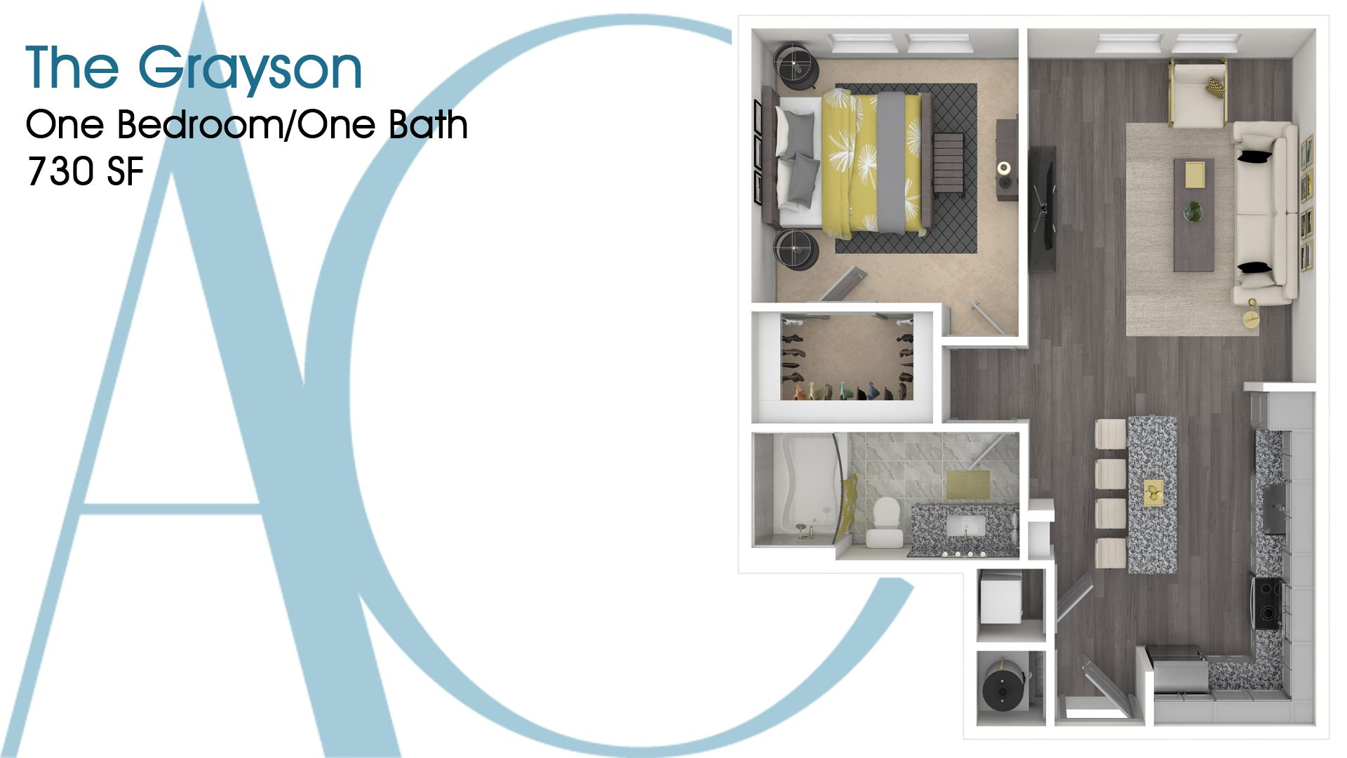 The Grayson—One-Bedroom/One-Bath Apartment—730 SQ. FT.