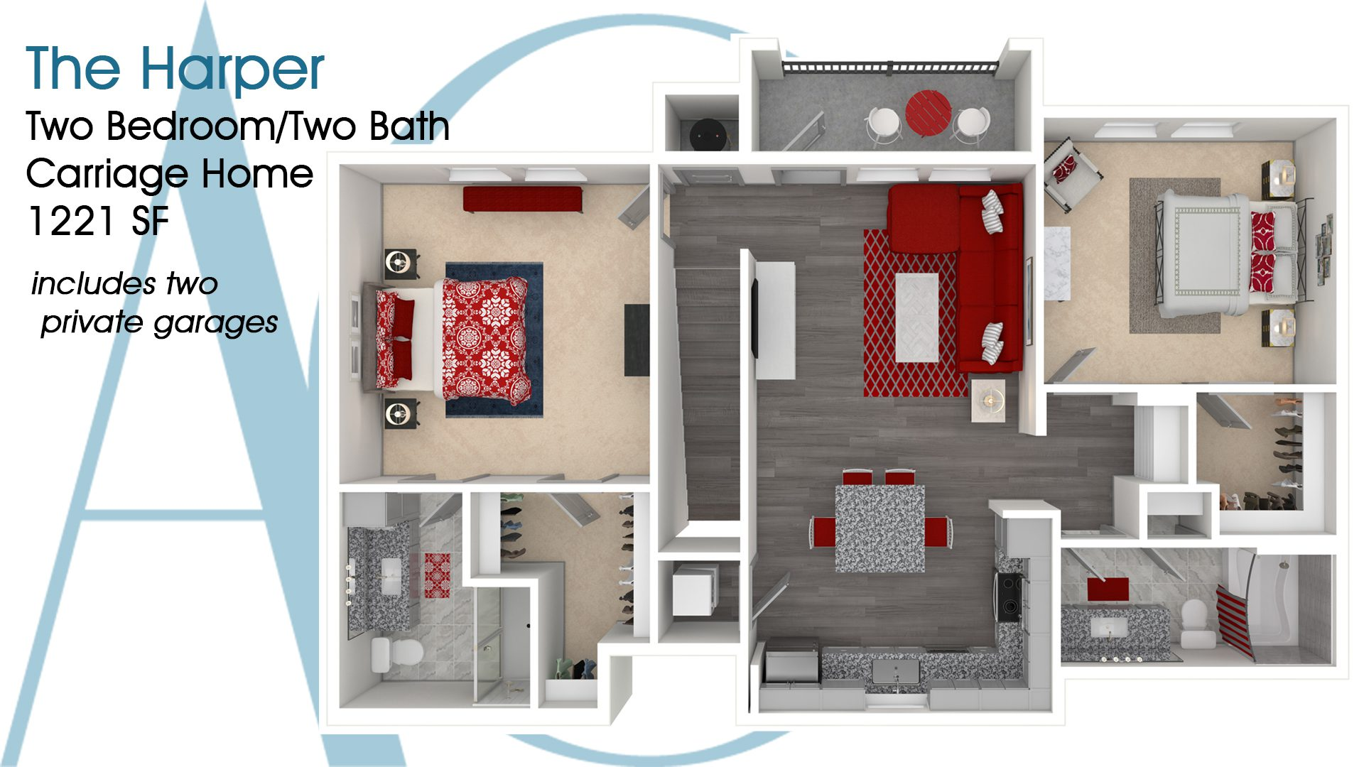 The Harper—Two-Bedroom/Two-Bath Carriage Home—1221 SQ. FT.