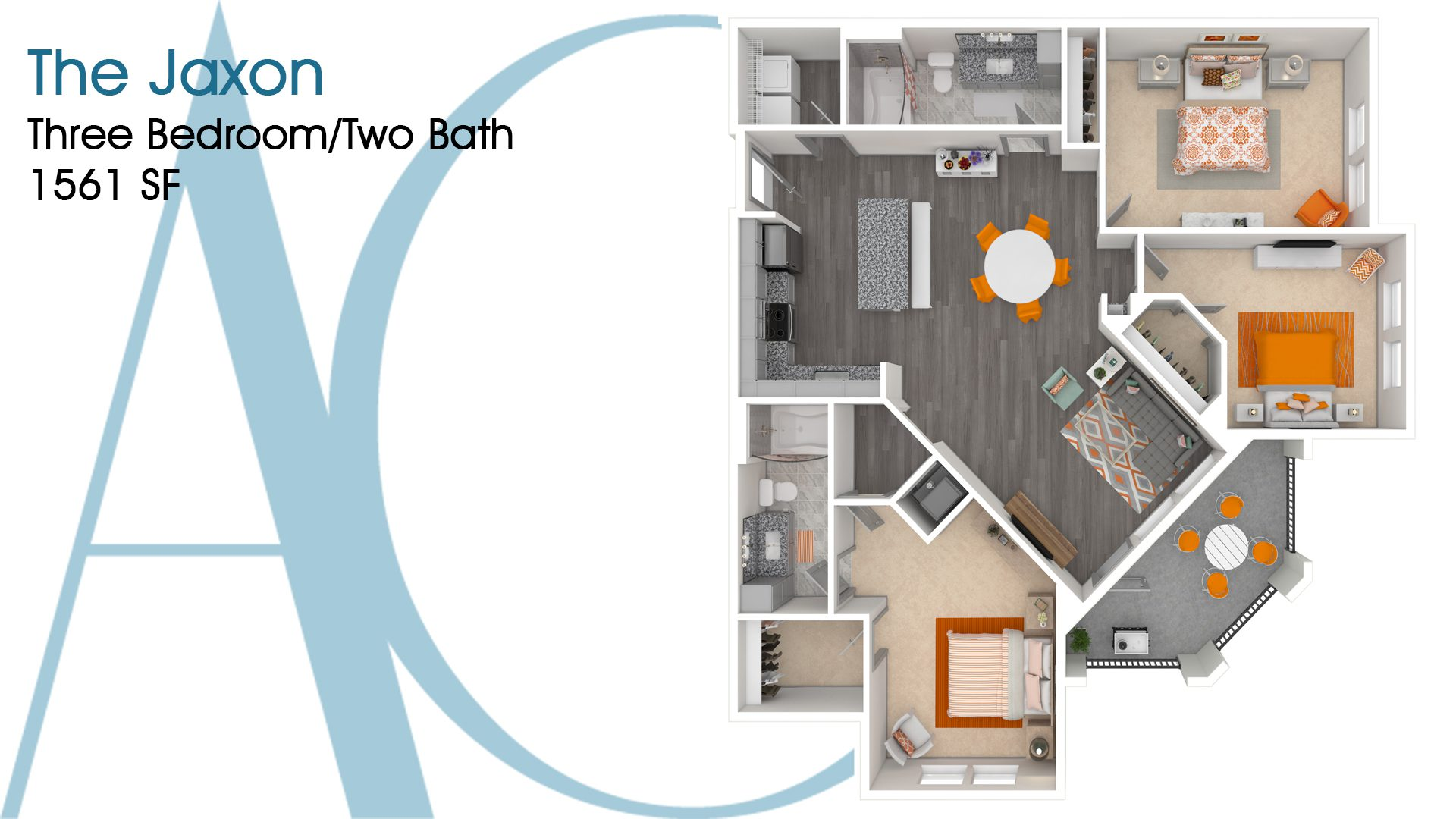 The Jaxon—Three-Bedroom/Two-Bath Apartment—1561 SQ. FT.