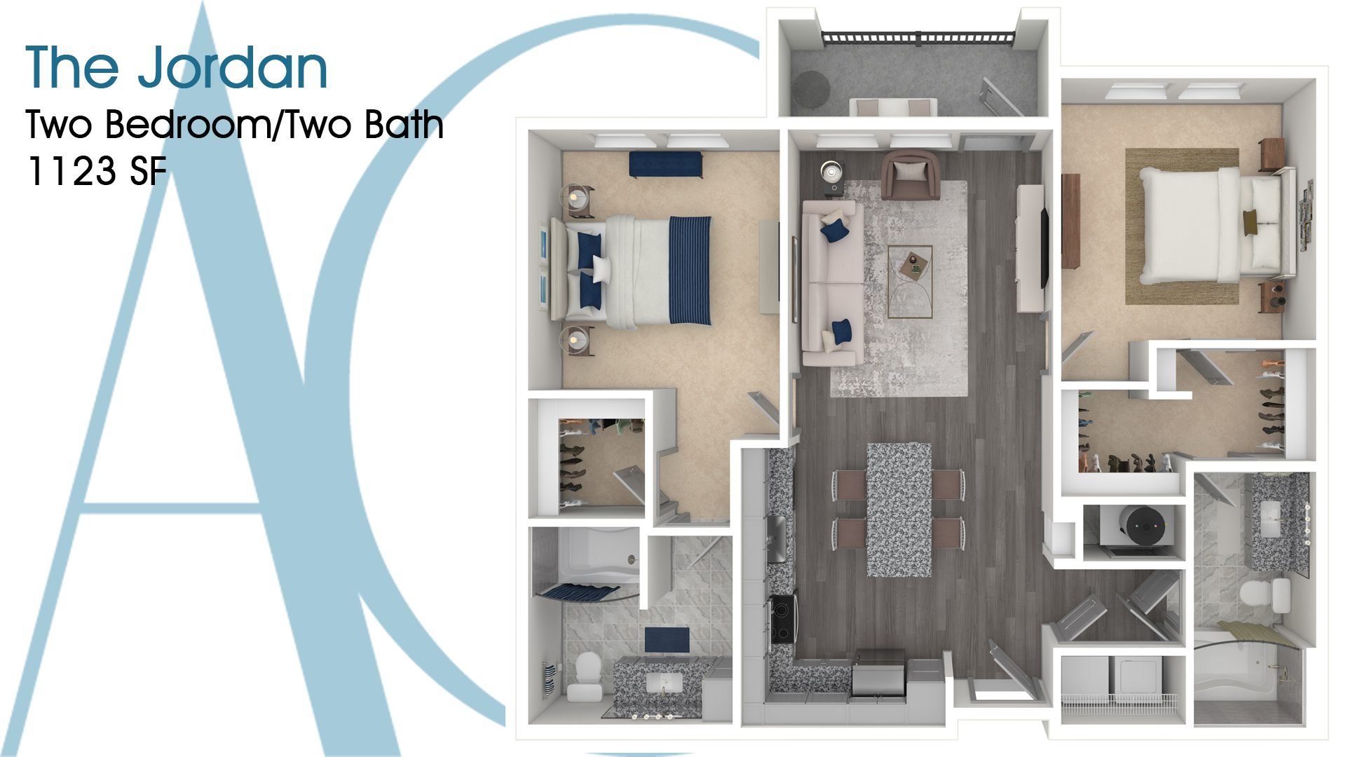 The Jordan—Two-Bedroom/Two-Bath Apartment—1123 SQ. FT.