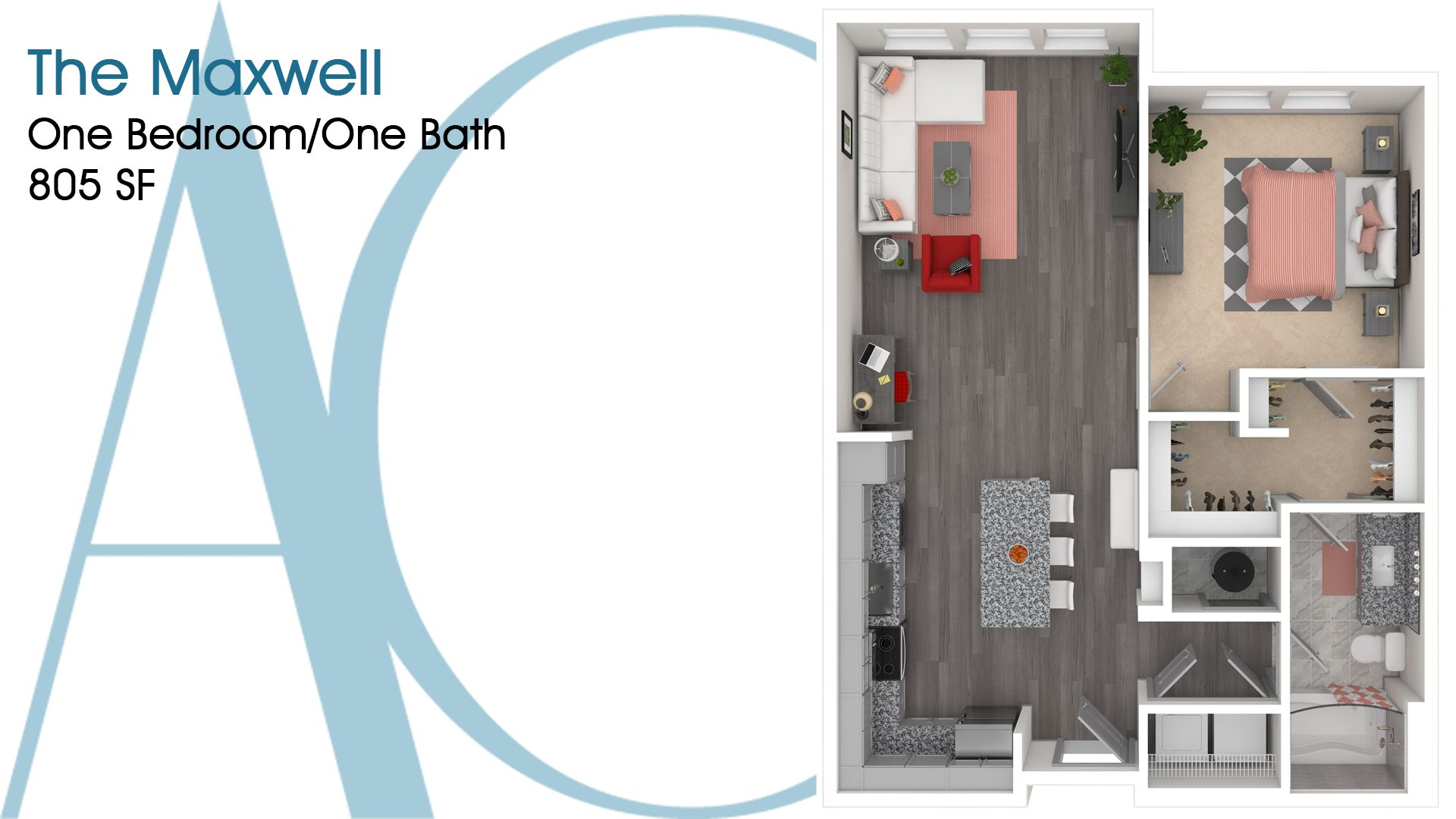 The Maxwell—One-Bedroom/One-Bath Apartment—805 SQ. FT.