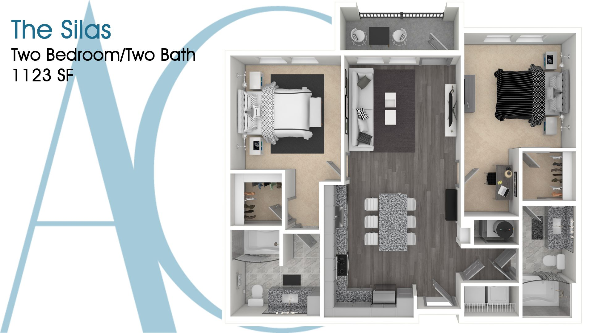 The Silas—Two-Bedroom/Two-Bath Apartment—1123 SQ. FT.