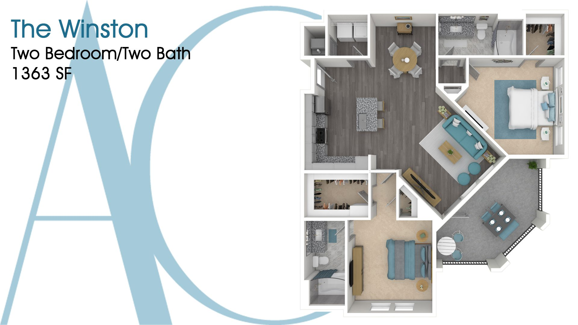 The Winston—Two-Bedroom/Two-Bath Apartment—1363 SQ. FT.