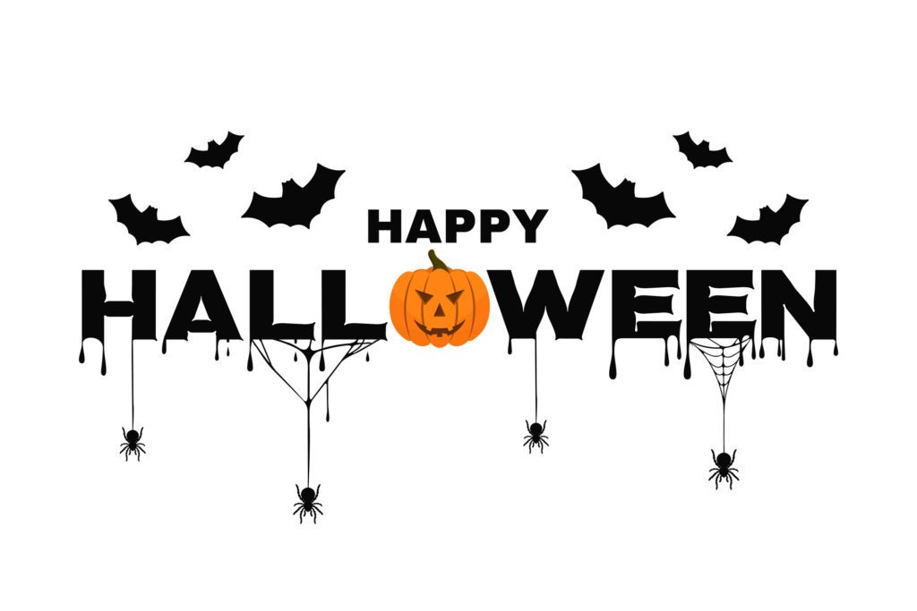 Happy Halloween background text with pumpkin, bats, spider web and blood. Halloween background for poster, banner