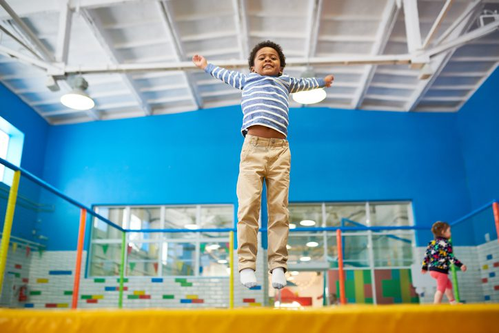 Boy Enjoying Trampolines