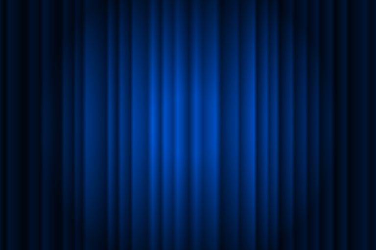 Closed silky luxury blue curtain stage background spotlight beam illuminated. Theatrical drapes. Vector gradient illustration