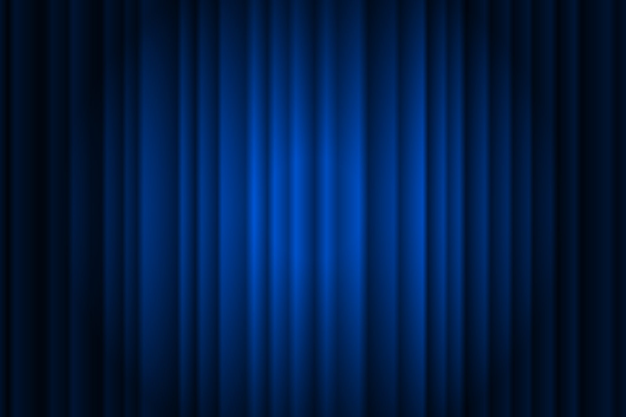 the addison at clermont Closed silky luxury blue curtain stage background spotlight beam illuminated. Theatrical drapes. Vector gradient illustration