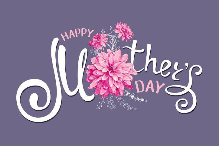 Inscription Happy Mothers Day with decorative pink flowers, floral hand drawn elements on a dark-violet background. Template for greeting card, banner, poster, voucher, sale announcement