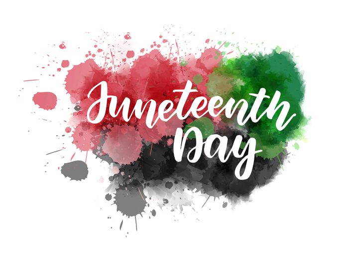 Juneteenth - lettering on watercolor splash addison clermont