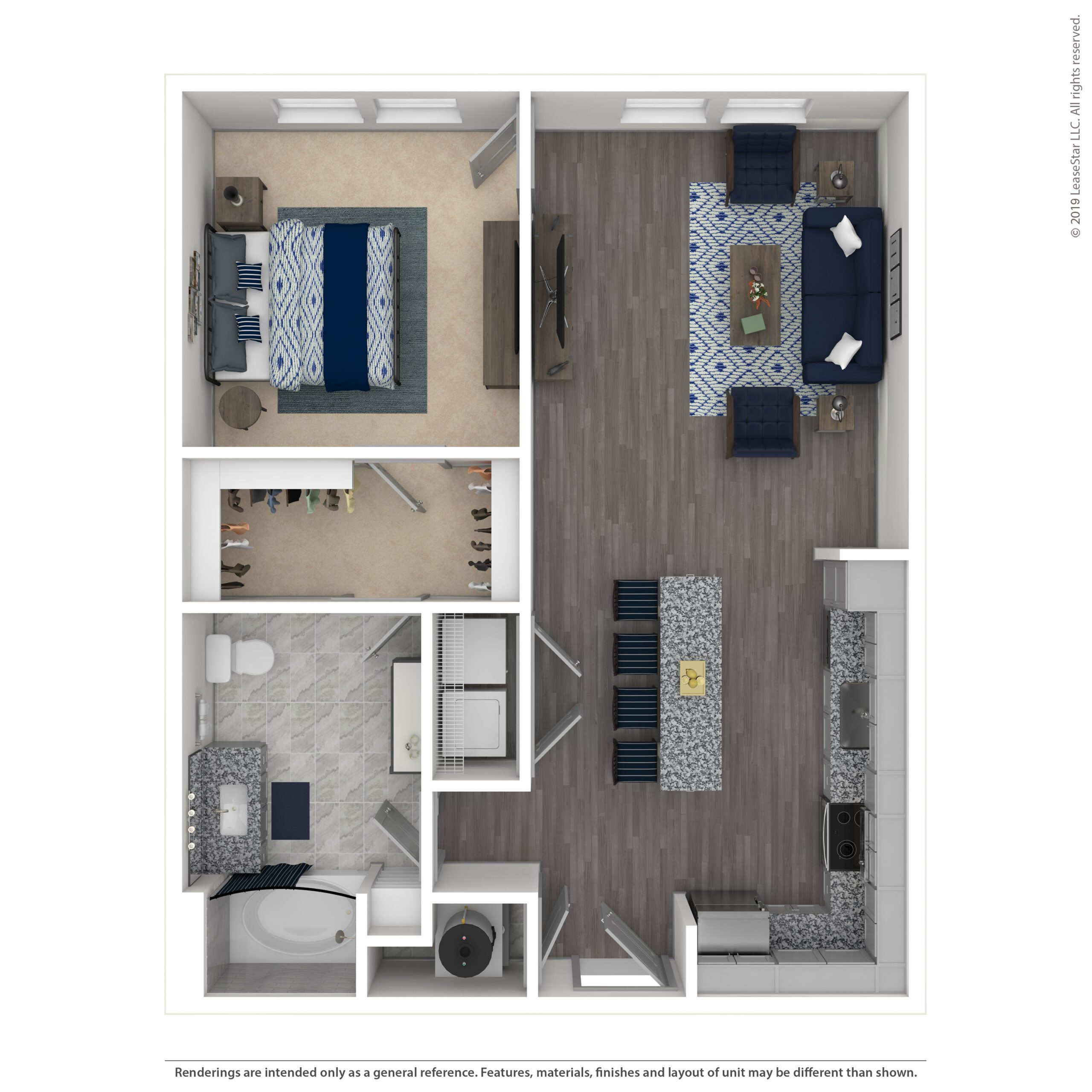 THE ASHER, A1A | 798SF | ONE BEDROOM, ONE BATH