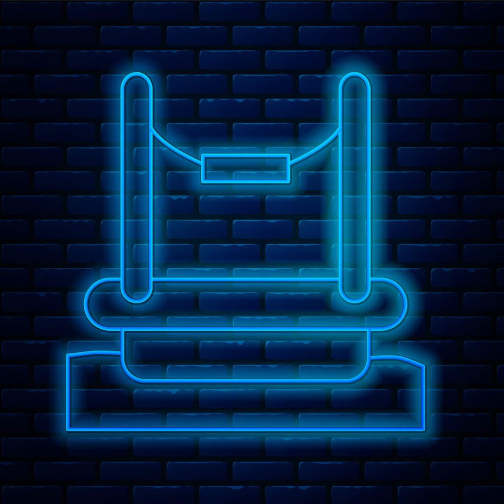 Glowing neon line Bungee trampoline attraction with metal ladder icon isolated on brick wall background. Vector